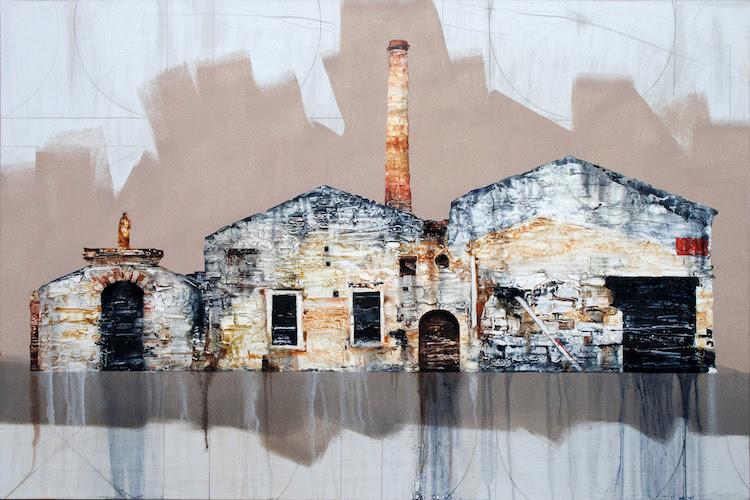 Michael-Goro-Old-Soap-Factory-Loggos-2016-Oil-on-board-91-x-61-cm