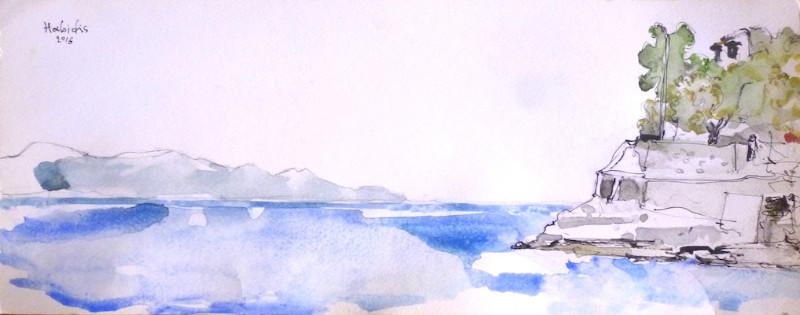 Pavlos-Habidis-Paxos-East-Coast-Plakes-2016-Watercolor